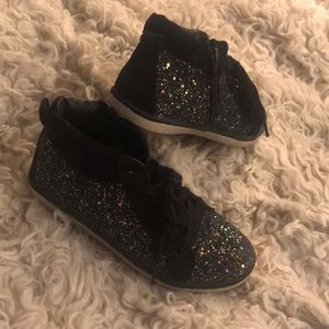 Justice sneakers 4 black holo glitter high top zip